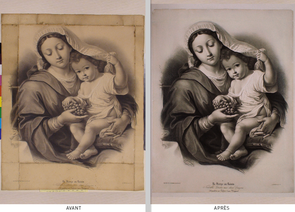 Lithographie Vierge au Raisin