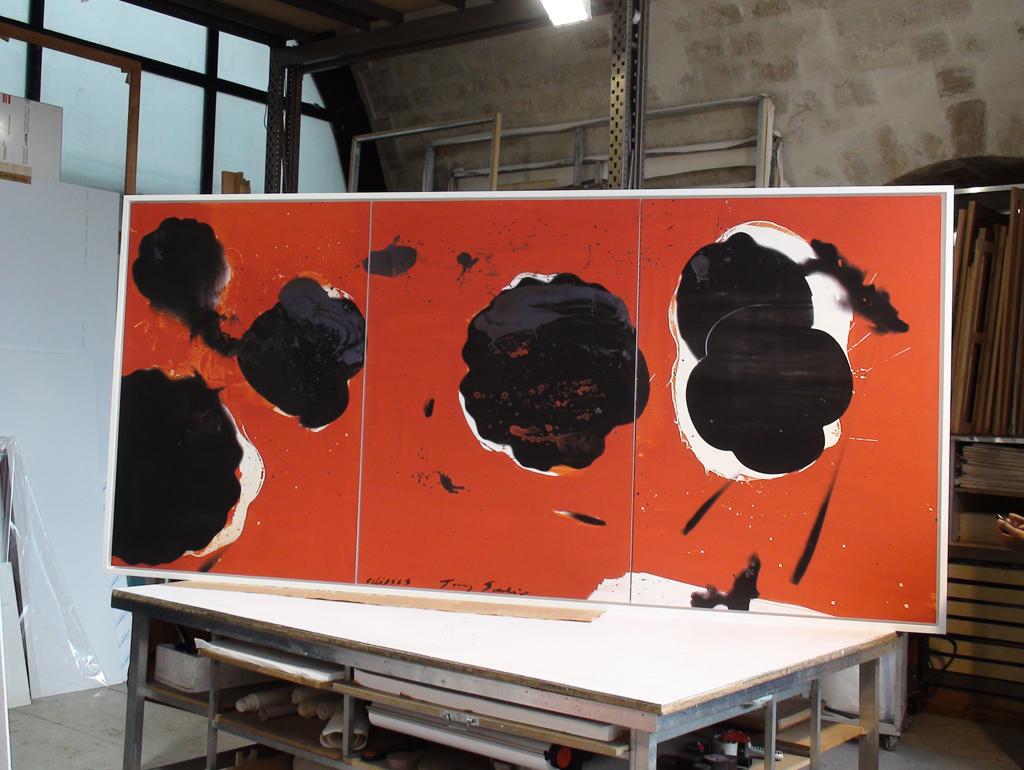 Tryptique de Tony Soulié - œuvre marouflée sur plaque en aluminium et encadrement en bois blanc.